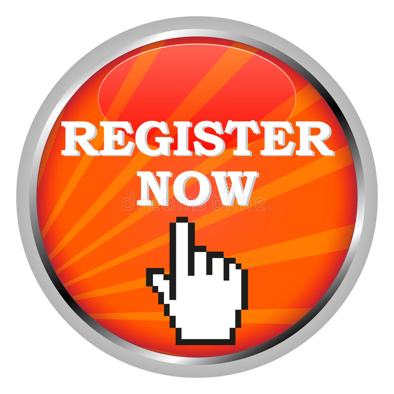 Register now. A Register Now button and a hand shaped cursor vector illustration