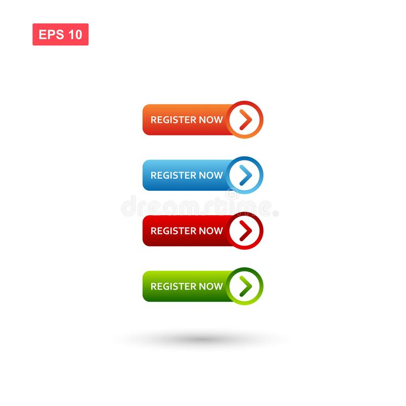 Register now button vector isolated vector illustration