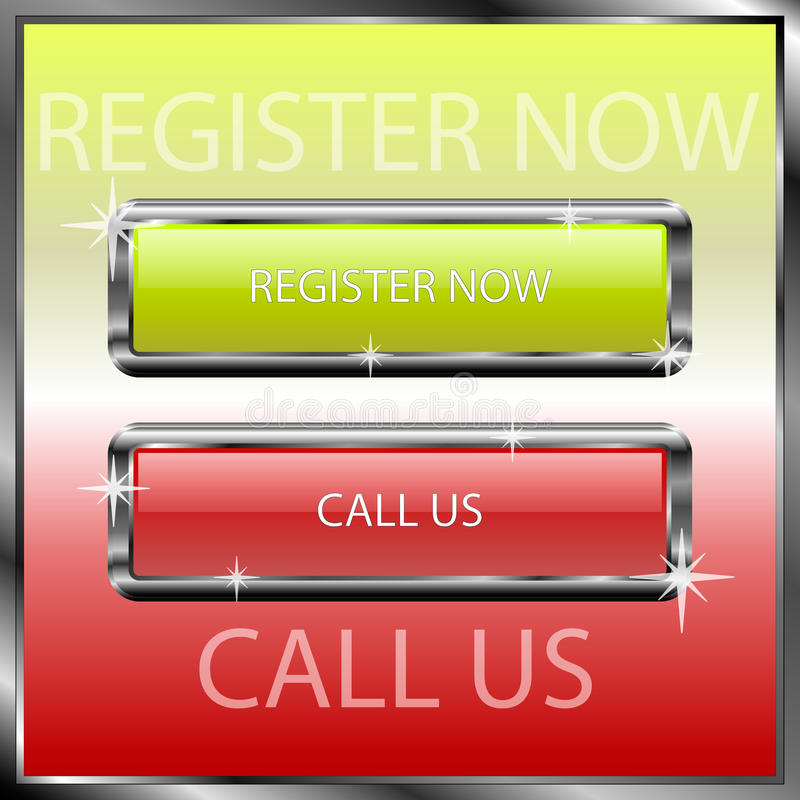 Register now and call us buttons on a color reflective surface royalty free stock photography