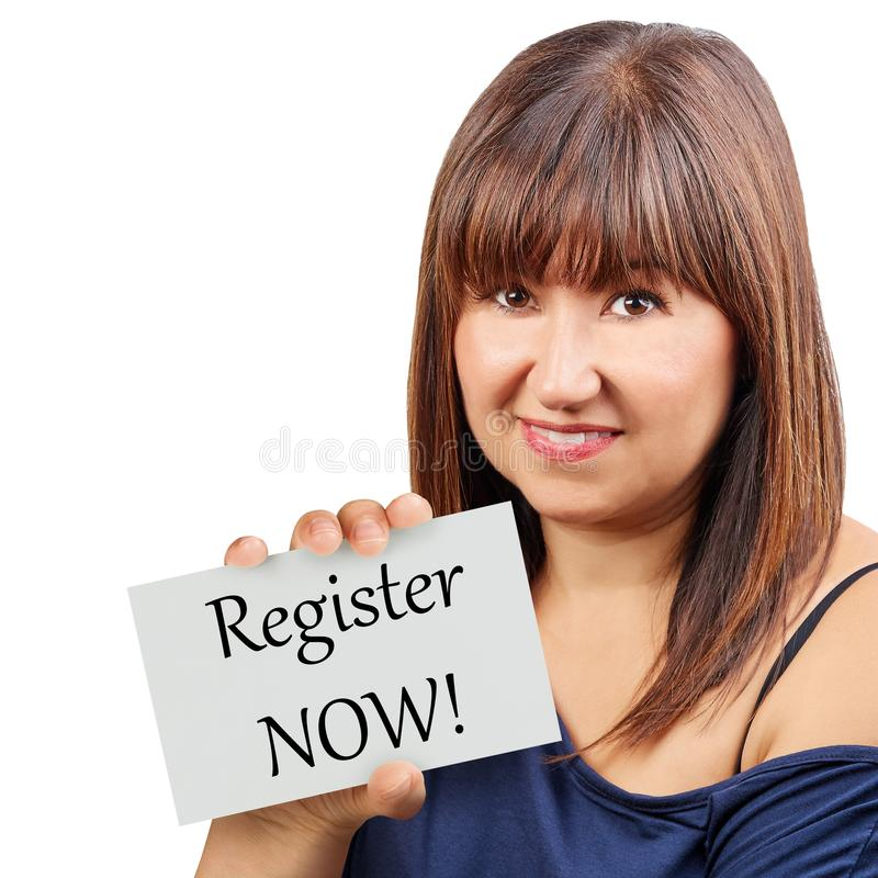 Download Register Now Card Held By Brunette Woman Isolated Stock Photo - Image of sign, background: 109538152