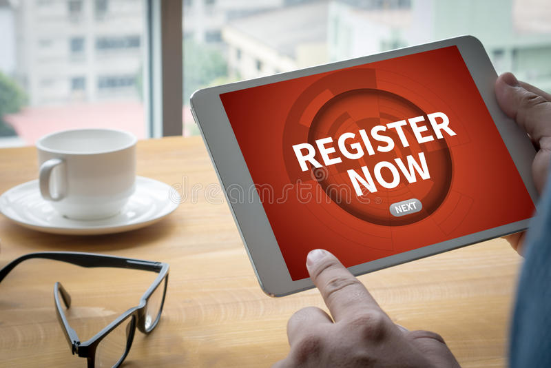REGISTER NOW royalty free stock photo