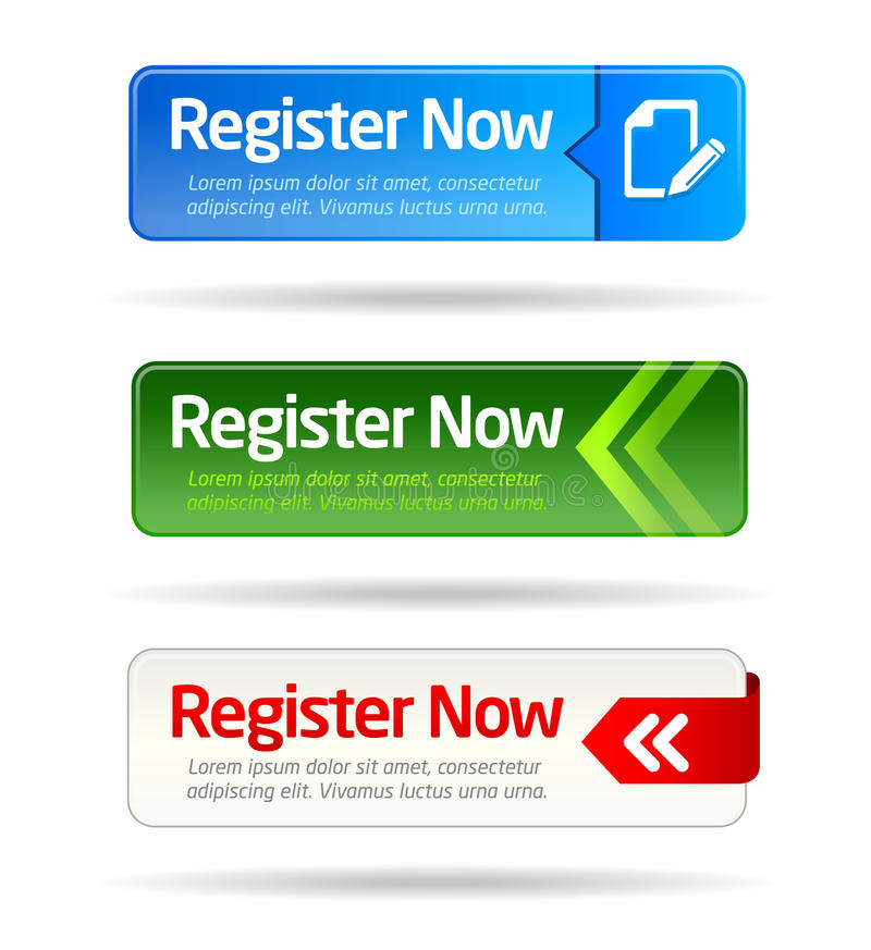 Free Register Now Modern Minimal Button Collection Stock Images - 18089504