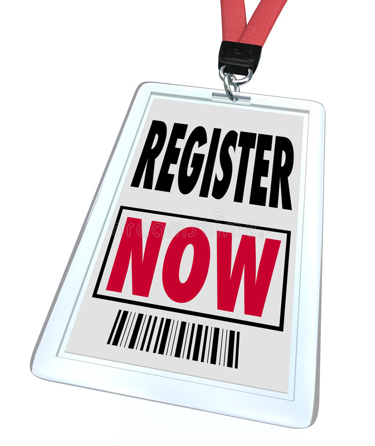 Register Now - Registration for Trade Show Event. A badge and lanyard with printed pass reading Register Now, representing the urgent call for people to sign up royalty free illustration