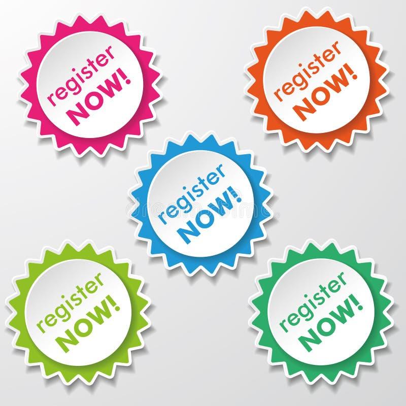 Register Now Star Paper Labels stock illustration