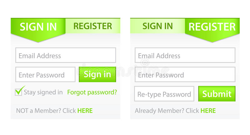 Register and Sign in Forms vector illustration