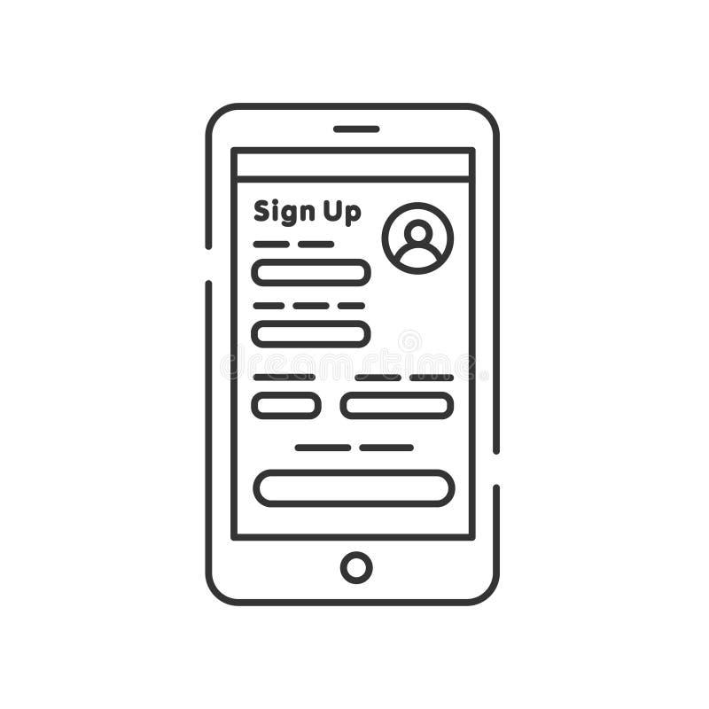 Register on smartphone line black icon. Create account. Online registration on site dating. Symbol for web page, mobile app. Pictogram UI UX user interface stock illustration