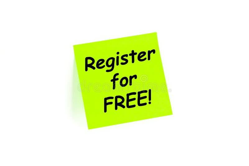 Register voor Vrij Teken op Concept royalty-vrije stock afbeelding