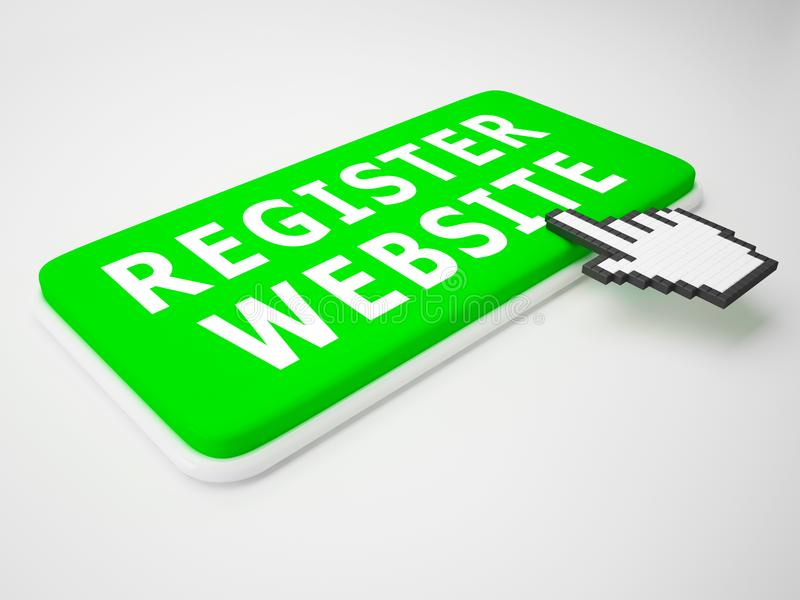 Register-Website zeigt Wiedergabe der Gebiets-Anwendungs-3d an stock abbildung