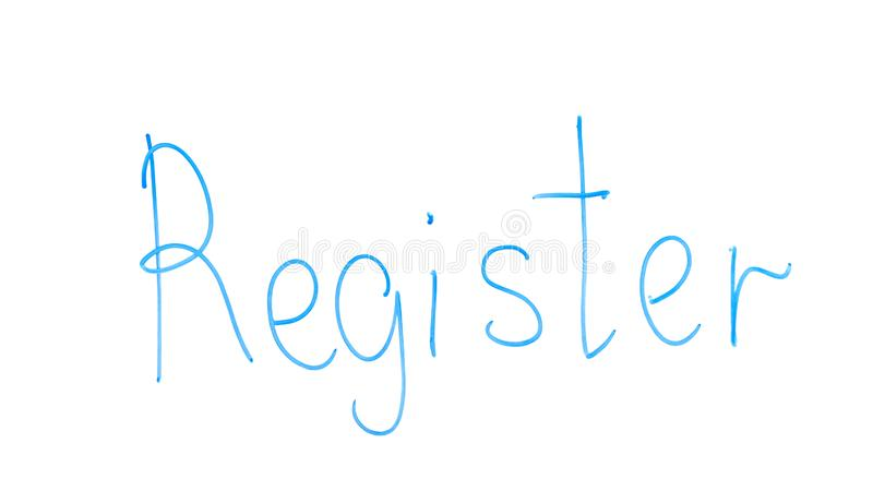 Register word written on glass, entering, join in network or record new document royalty free stock photo