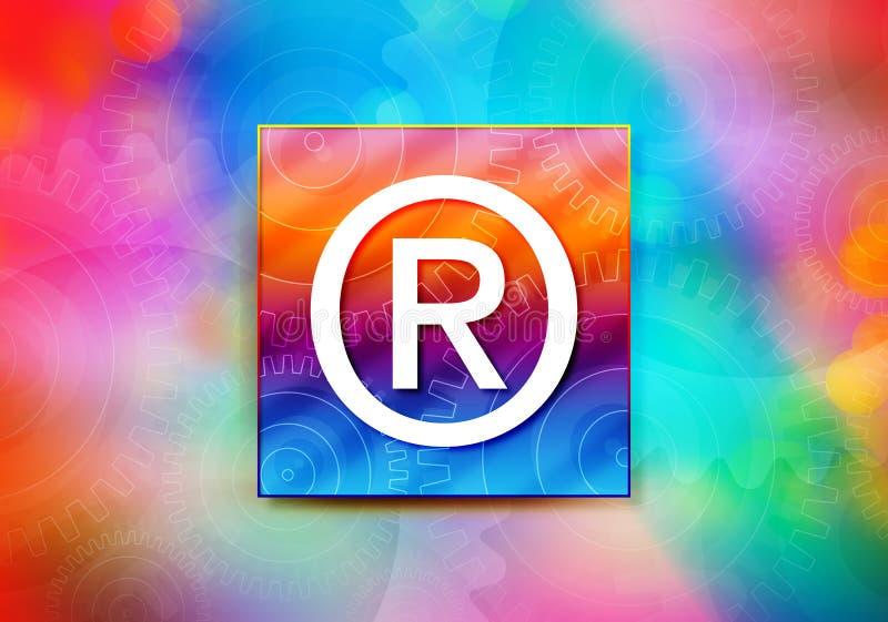 Registered symbol icon abstract colorful background bokeh design illustration. Registered symbol icon isolated on colorful banner abstract colorful background stock illustration