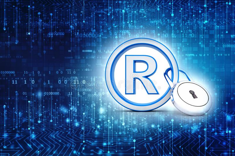 Registered Trademark concept with padlock, 3D rendering stock images