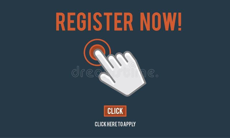 Registerregistreringen skriver in applicerar medlemskapbegrepp vektor illustrationer