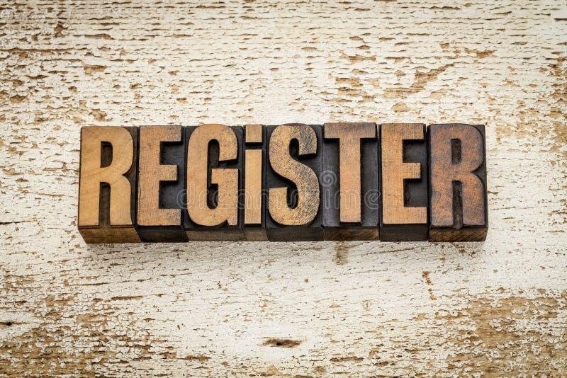 Registerwoord in houten type royalty-vrije stock foto