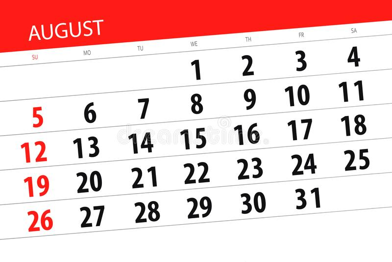 Registi il pianificatore per il mese, il giorno della settimana, 2018 di termine augusto immagini stock libere da diritti