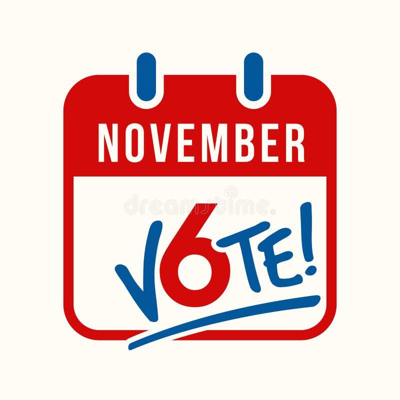 Registi il ricordo della pagina per votare nell'elezione trimestrale degli Stati Uniti il 6 novembre royalty illustrazione gratis
