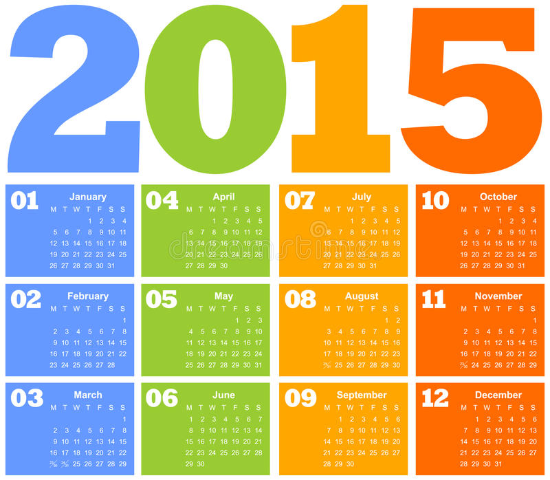 Registi per l'anno 2015 illustrazione vettoriale