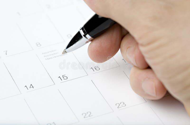 Registo do calendário imagem de stock