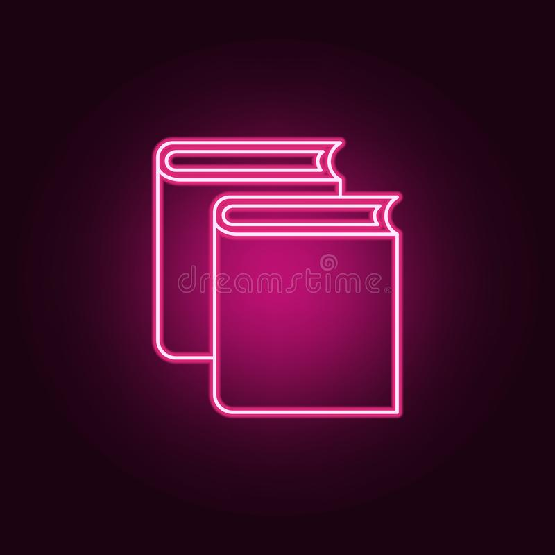 Registra o ícone Elementos dos livros e dos compartimentos nos ícones de néon do estilo Ícone simples para Web site, design web,  ilustração do vetor