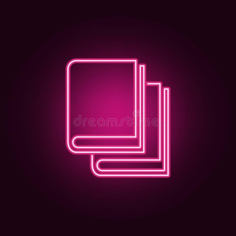 Registra o ícone Elementos dos livros e dos compartimentos nos ícones de néon do estilo Ícone simples para Web site, design web,  ilustração royalty free