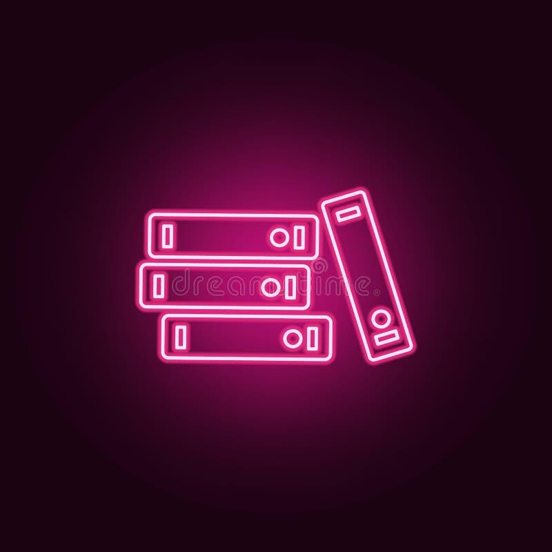 Registra o ícone Elementos dos livros e dos compartimentos nos ícones de néon do estilo Ícone simples para Web site, design web,  ilustração stock