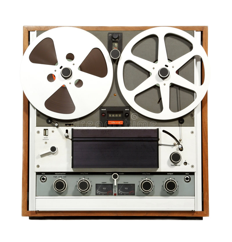 Registrador abierto retro del audio del carrete imagen de archivo