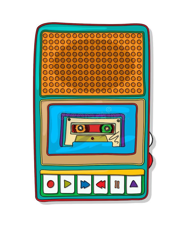 Registrador de cinta de audio del arte pop