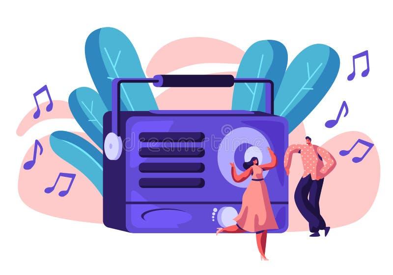 Registrador de rádio que joga a música para a pessoa feliz Mulher na dança do vestido e do homem à música alta Os povos escutam a ilustração do vetor