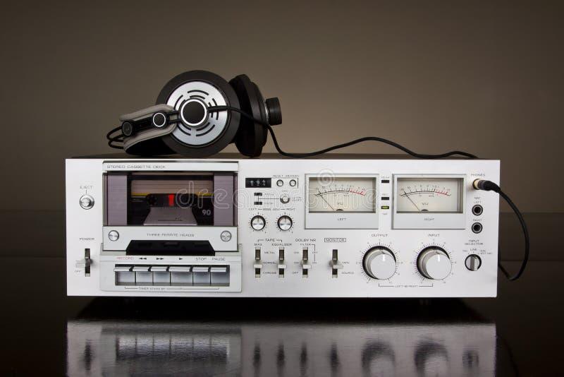 Registrador estéreo de la cubierta de cinta de cassette de la vendimia fotos de archivo