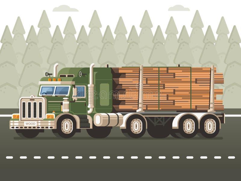 Registrare camion con il concetto di raccolta di legno del legname illustrazione di stock