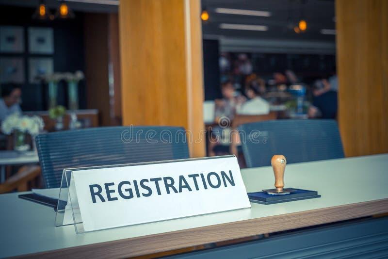 Registration desk stock image
