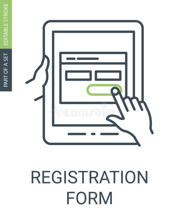 Registration Form Icon with Outline Style and Editable Stroke stock illustration