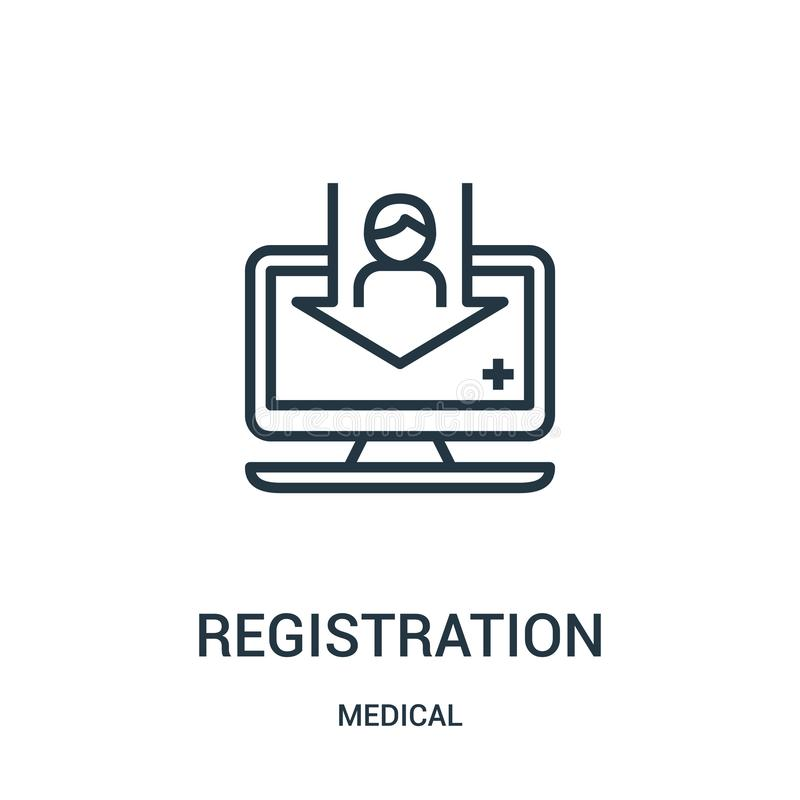 registration icon vector from medical collection. Thin line registration outline icon vector illustration. Linear symbol for use royalty free illustration