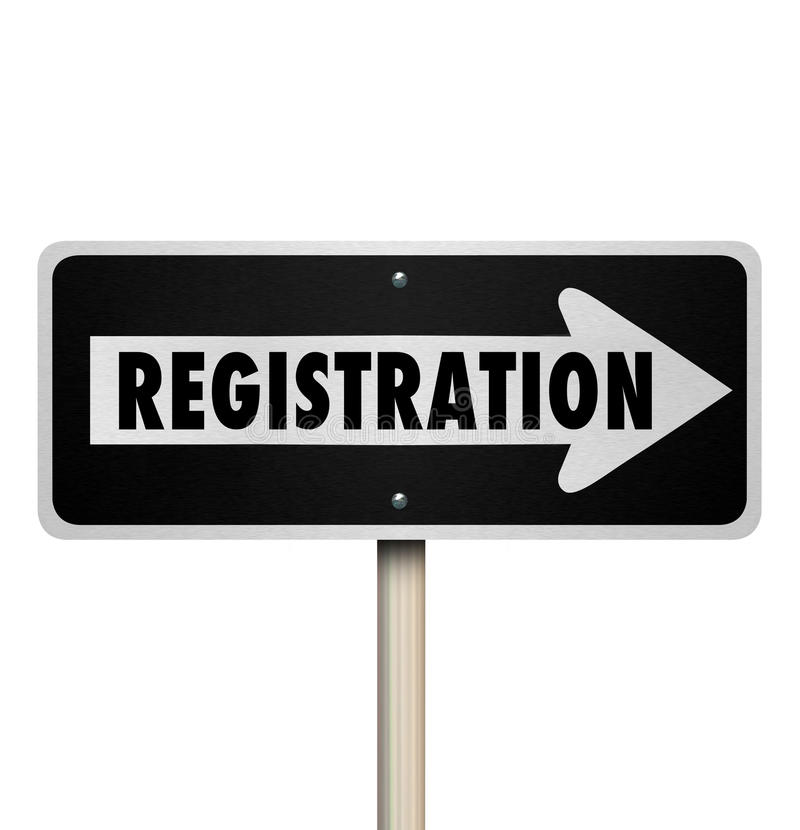 Registration One Way Road Street Sign Advertise Event Enrollment stock illustration