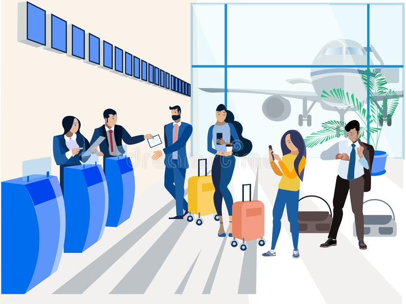 Registration for the plane, airport. In minimalist style. Flat isometric vector vector illustration