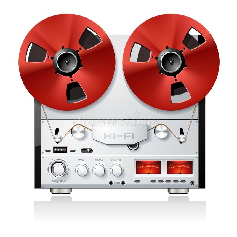 Registratore bobina a bobina stereo della piastra di registrazione dell'annata illustrazione vettoriale