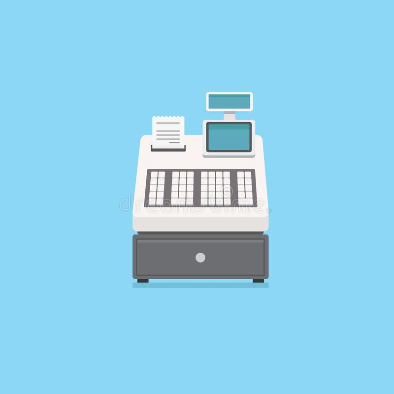 Registratore di cassa elettronico con il cassetto dei soldi e della ricevuta royalty illustrazione gratis