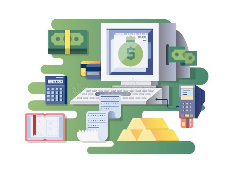 Registratore di cassa finanziario del computer illustrazione di stock
