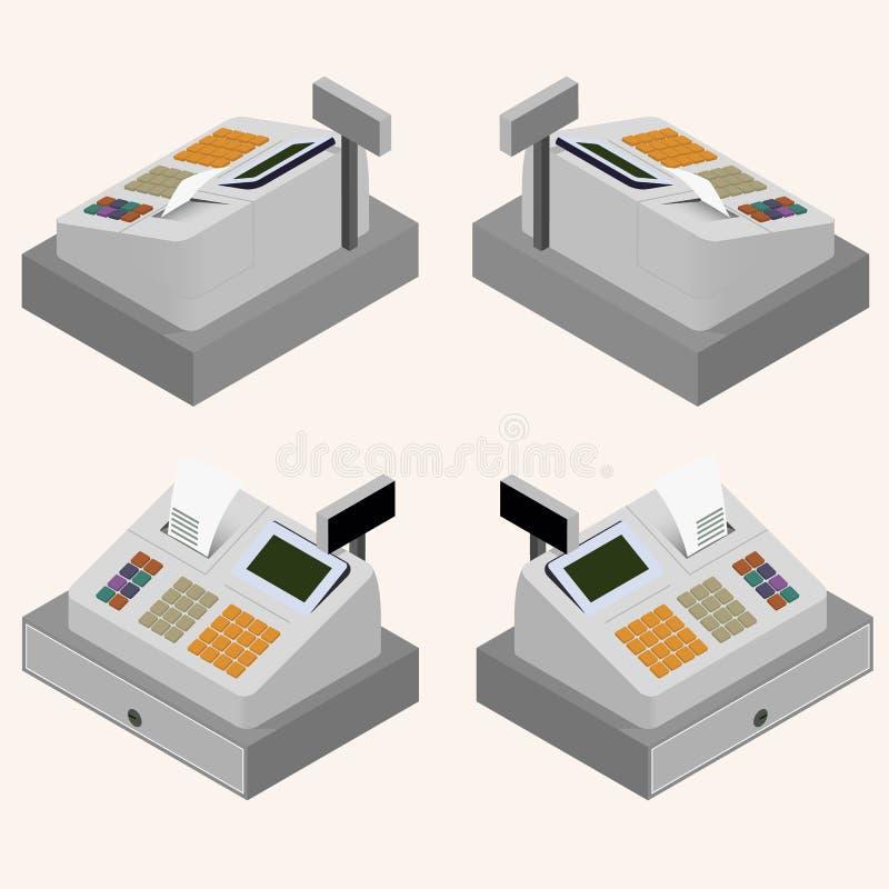 Registratore di cassa Isometrico piano La circolazione di soldi illustrazione vettoriale