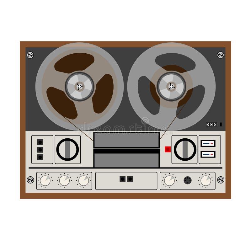 Registratore stereo analogico d'annata della bobina illustrazione di stock