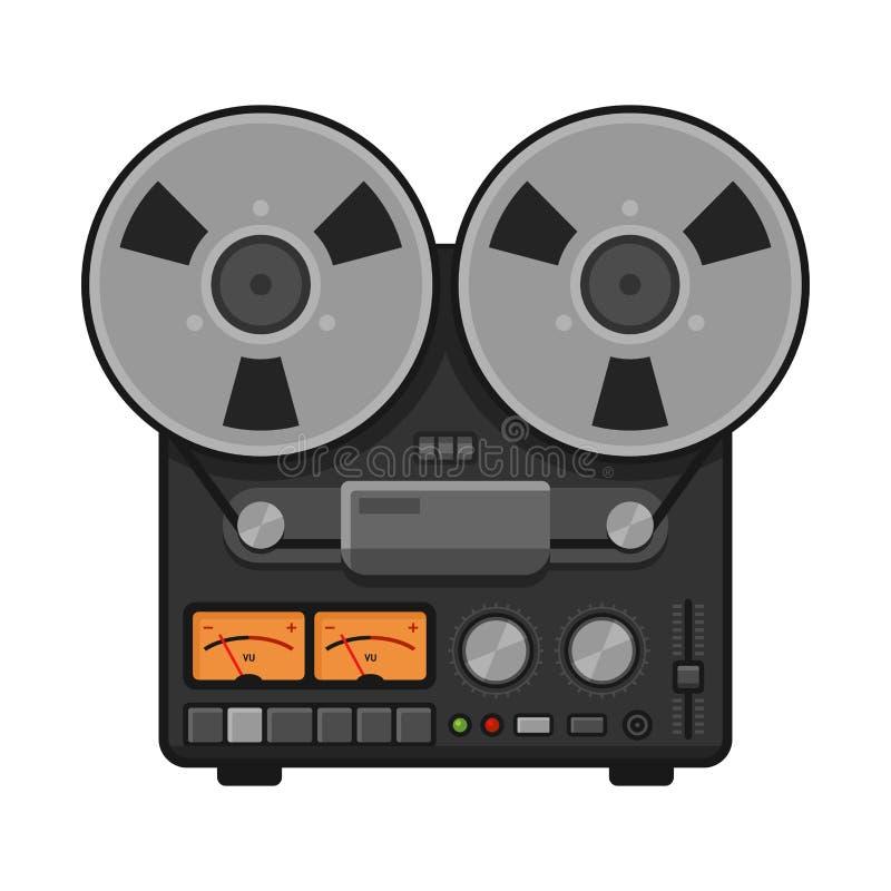 Registratore stereo analogico d'annata della piattaforma della bobina Vettore illustrazione vettoriale