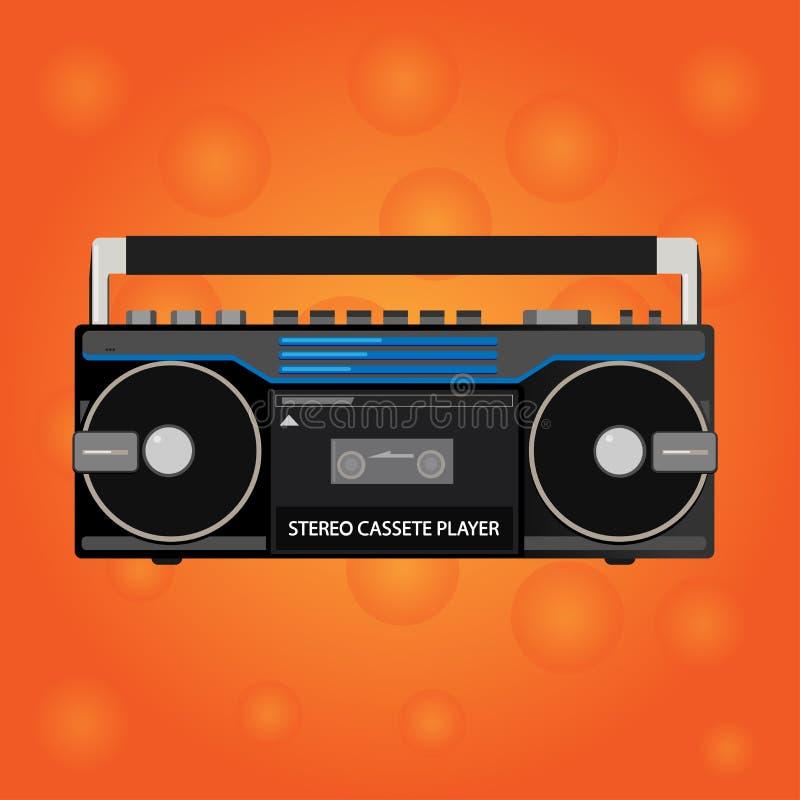 Registratore stereo della cassetta d'annata Grafici di vettore Stile piano illustrazione di stock