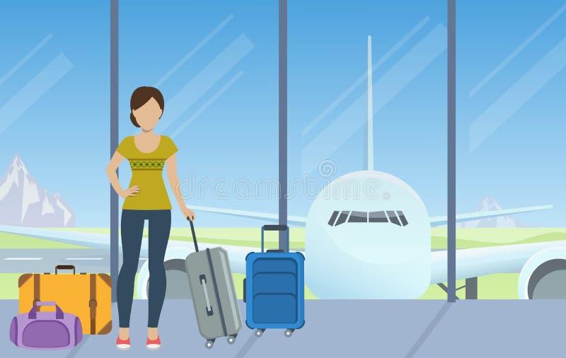 Registrazione all'aeroporto illustrazione vettoriale