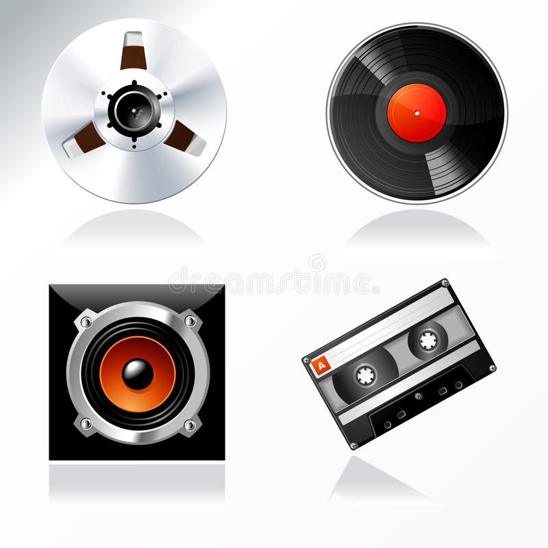 Registrazione del suono ed acquistare padronanza dell'insieme dell'icona di vettore illustrazione di stock