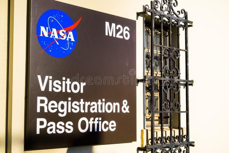 Registrazione dell'ospite della NASA e segno dell'ufficio del passaggio fotografia stock