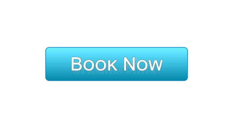 Registre agora a cor azul do botão da relação da Web, bilhete do voo em linha, reserva ilustração stock