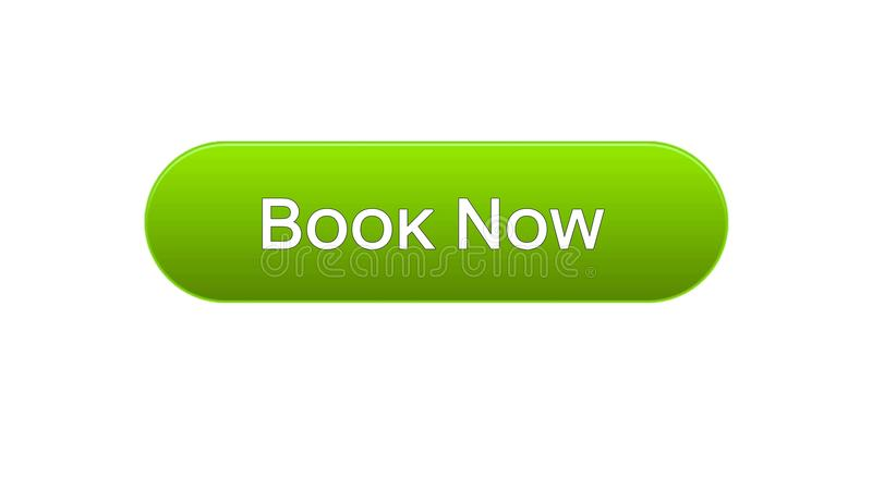 Registre agora a cor verde do botão da relação da Web, bilhete do voo em linha, reserva ilustração do vetor