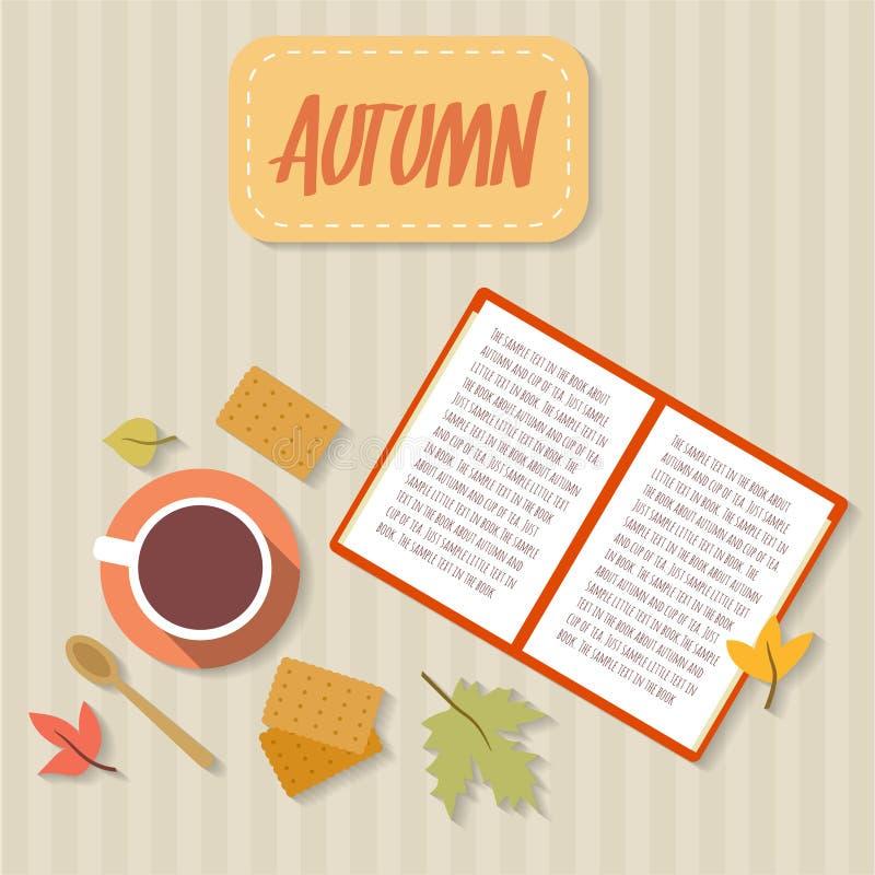 Registre, copo do chá, cookies, lenço e folhas de outono ilustração royalty free