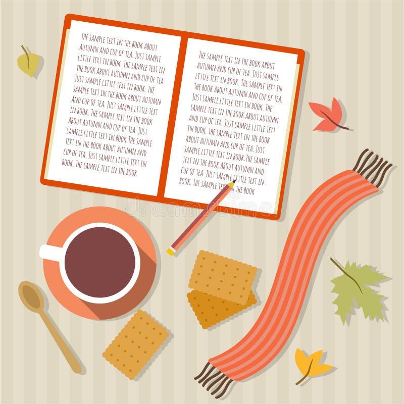Registre, copo do chá, cookies, lenço e folhas de outono ilustração do vetor