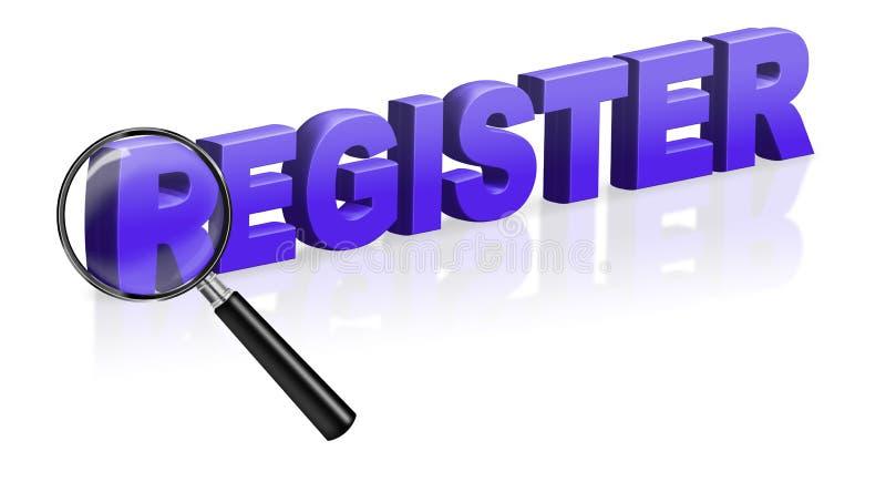 Registre d'enregistrement de site Internet illustration stock