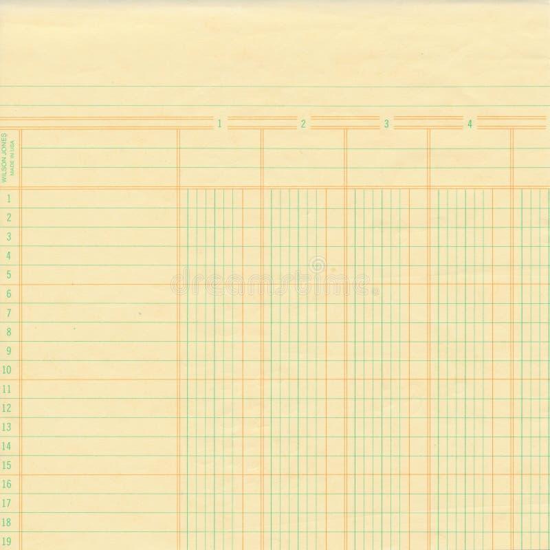 Registre de vintage ou papier de graphique jaune image libre de droits